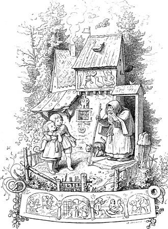 Cries and Whispers - Hansel and Gretel by Ludwig Richter; the fairy tale is used to suggest familial abandonment.