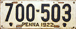 1922 Pennsylvania license plate.JPG