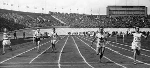 Athletics at the 1928 Summer Olympics – Men's 100 metres - Heat 1: Willy Dujardin, Wilhelm Hennings, Angelos Lamprou, John Fitzpatrick, Richard Corts