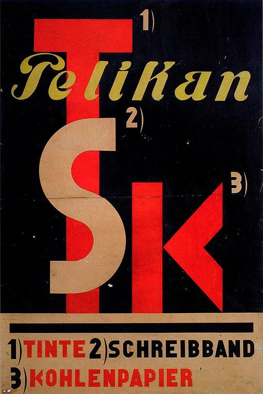 1929 El Lissitzky Plakat Pelikan Tinte Schreibband Kohlenpaper
