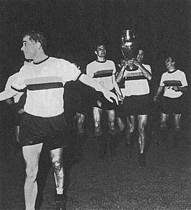 1964–65 European Cup - Inter Milan's Suárez, Facchetti, Peiró and Bedin with the trophy.jpg