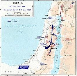Avande de Israel por Cisjordania, entonces administrada por Jordania, durante la Guerra de los seis días.