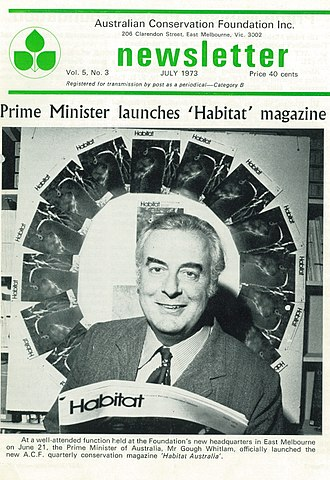 Australian Conservation Foundation - 1973 Prime Minister Gough Whitlam launches ACF's new member magazine, Habitat Australia