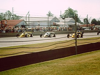 1988 Indianapolis 500 - The front row during the pace lap. From left to right: Al Unser, Sr. (outside), Danny Sullivan (middle), Rick Mears (pole position)