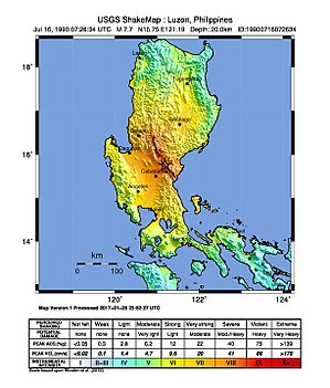 1990 Luzon earthquake - USGS ShakeMap showing the earthquake's intensity.