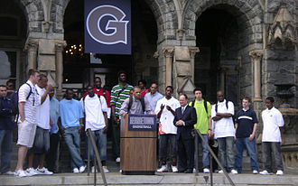2006–07 Georgetown Hoyas men's basketball team - The team gathered in front of Healy Hall with university president John J. DeGioia