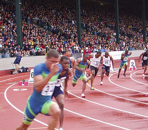 Hayward Field - The start of the 200 m at the 2006 Prefontaine Classic