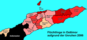 2006 East Timorese crisis - Internal displaced people by district