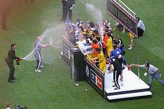 2009 FA Cup Final - The Chelsea players celebrate winning the FA Cup for the fifth time.