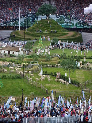 2012 Summer Olympics opening ceremony - Scene before the ceremony commenced, representing rural Britain
