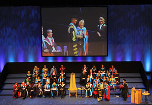 Phyllida Law - Phyllida Law receives the honorary doctorate from the hands of Muhammad Yunus, chancellor of Glasgow Caledonian University (July 4th 2013).