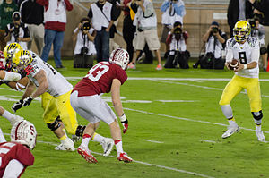 Marcus Mariota - Mariota (right) against Stanford