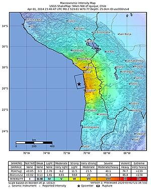 2014 Iquique earthquake - Image: 2014 Iquique Earthquake Shake Map