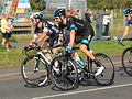2014 Tour of Britain stage 5 riders 71 Mark Cavendish and 1 Bradley Wiggins.JPG