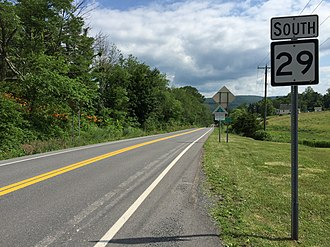 West Virginia Route 29 - View south from the north end of WV 29 at WV 9 near Paw Paw