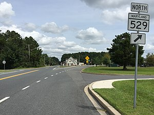 Maryland Route 529 - View north at the south end of MD 529 at MD 675 just north of Princess Anne