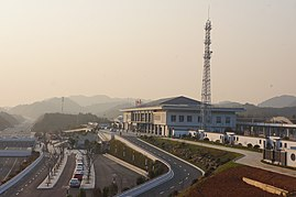 201712 Station building of Changshan Station from a Hill.jpg