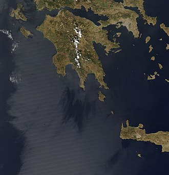 2007 Greek forest fires - Rapidfire – NASA image taken on 22 August, before the fires