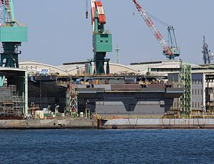 JS Kaga - Under construction in March 2015