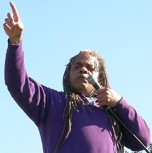 Black Panther Michael Dixon speaks at anti-war...