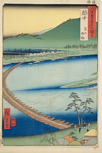 "Etchū Province - Hiroshige ukiyo-e ""Etchū"" in ""The Famous Scenes of the Sixty States"" (六十余州名所図会), depicting Funa-hashi, a pontoon bridge"