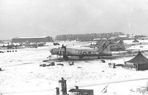 401st Air Expeditionary Group - B-17s of the 615th Bomb Squadron at Deenethorpe. B-17G Serial 43-338077 is in the foreground