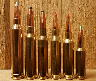 6.5×55mm Swedish - Size comparison of some 6.5 mm cartridges, left to right: .264 Winchester Magnum, 6.5×55mm Swedish, 6.5×52mm Carcano, .260 Remington, 6.5mm Creedmoor, 6.5mm Grendel
