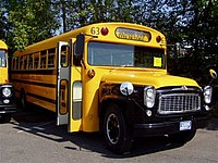 1961 Thomas school bus on International Harvester chassis, photographed in Connecticut.