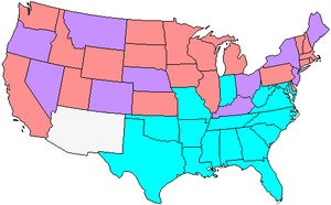 62nd United States Congress - Map showing Senate party membership at the start of the 62nd Congress. Red states are represented by two Republicans, blue by two Democrats, and purple by one of each.