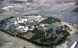 Disneyland - Disneyland aerial view, 1963, which includes the new Melody Land Theater at the top of the photo.