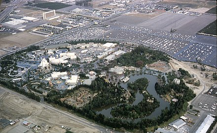 Disneyland aerial view, 1963, which includes the new Melody Land Theater at the top of the photo 6308-AnaheimDisneyLand-NW to SE View.jpg
