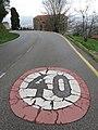 736 Avenida de los Monumentos (Oviedo), límit de velocitat, al fons Santa María del Naranco.jpg