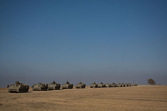 2014 in Israel - Israeli APC on their way to the Gaza border during Operation Protective Edge
