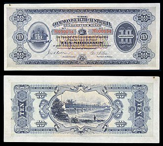 Banknotes of the Australian pound - Image: AUS Commonwealth of Australia 10 Shillings (1913)