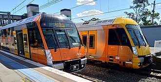 Sydney Trains A & B sets - Image: A & B sets at Revesby 20180919
