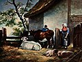 A milkmaid entering a pen in which a cowherd is leaning on o Wellcome V0020927.jpg