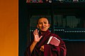 A monk in a gesture at Kagyu Thekchen Ling Monastery, Lava, Sikkim.jpg