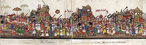 Spread of Islam - A panorama in 12 folds showing a fabulous Eid ul-Fitr procession by Muslims in the Mughal Empire.