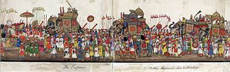 Delhi Book - Image: A panorama in 12 folds showing the procession of the Emperor Bahadur Shah to celebrate the feast of the 'Id., 1843