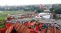 A panoramic view from the Minarets of Red Fort the children in form of tricolor while the Prime Minister, Dr. Manmohan Singh addressing from ramparts of the fort, on the occasion of 62nd Independence Day in Delhi.jpg
