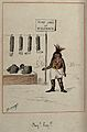 A tribesman selling the body parts of a missionary on a stall Wellcome V0049576.jpg