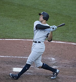 9e203f763 Aaron Judge in 2017 (36281893203).jpg. Judge with the New York Yankees ...