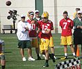 Aaron Rodgers passes ball at 2014 training camp.jpg