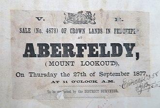 Aberfeldy, Victoria - Aberfeldy Land Sale 1877, courtesy Public Records Office Victoria