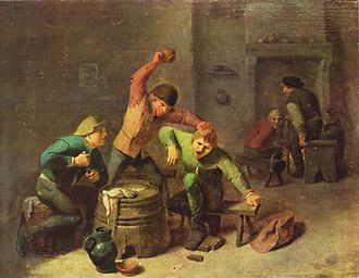 "Dutch customs and etiquette - ""Fighting peasants"" by Adriaen Brouwer."