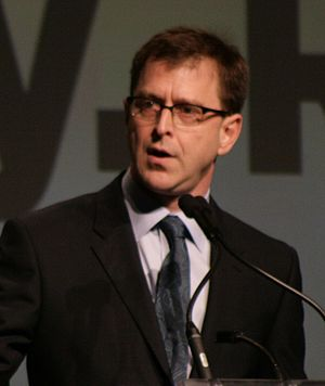 English: Adrian Dix addresses crowd at NDP Lea...