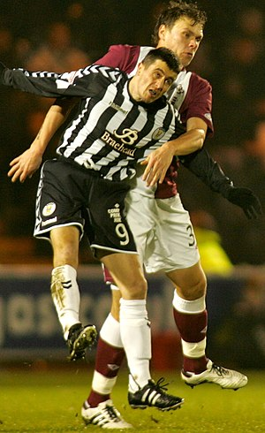Adrian Mrowiec - Mrowiec, right, playing for Hearts