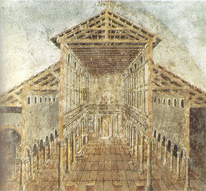 Nave - A fresco showing Old St Peter's Basilica, built in the 4th century: the central area, illuminated by high windows, is flanked by aisles.