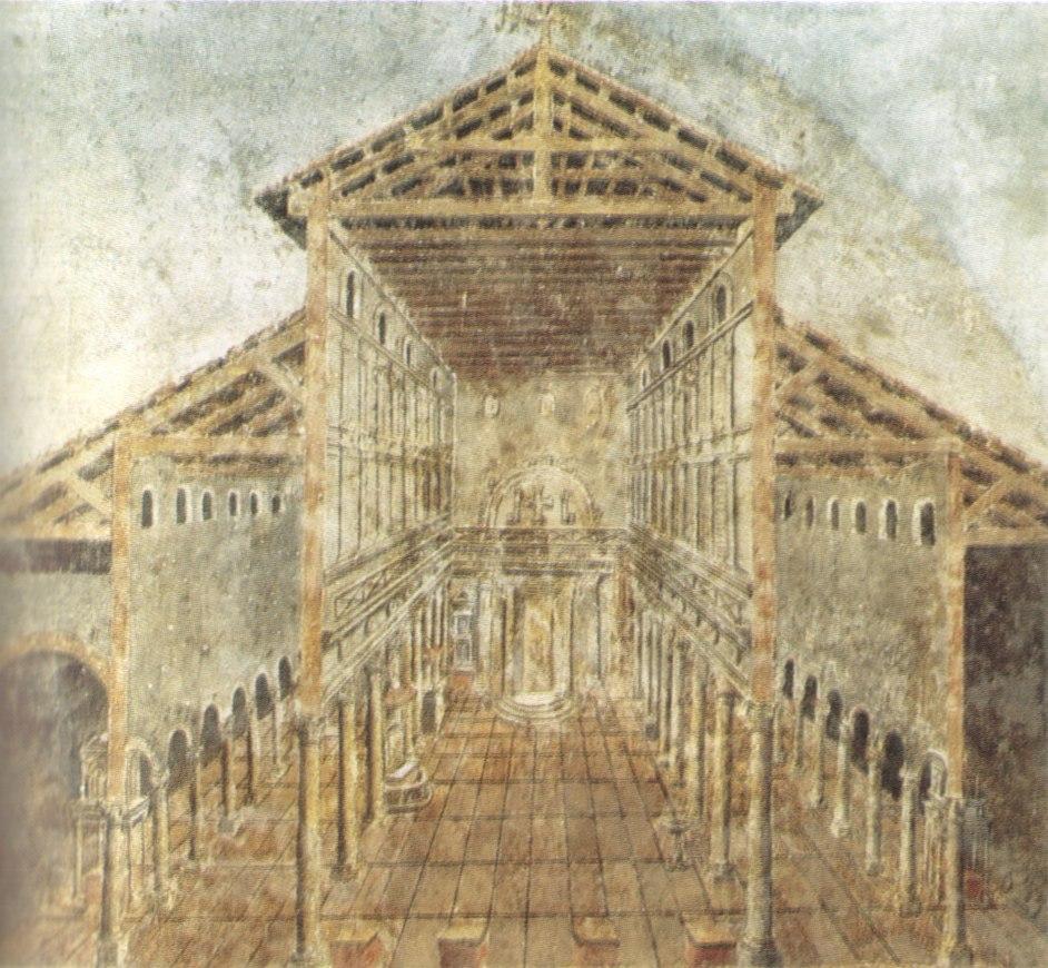 Affresco dell'aspetto antico della basilica costantiniana di san pietro nel IV secolo