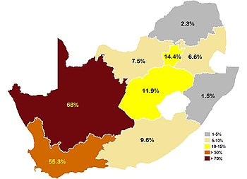 English: Map of Afrikaans speakers by province...